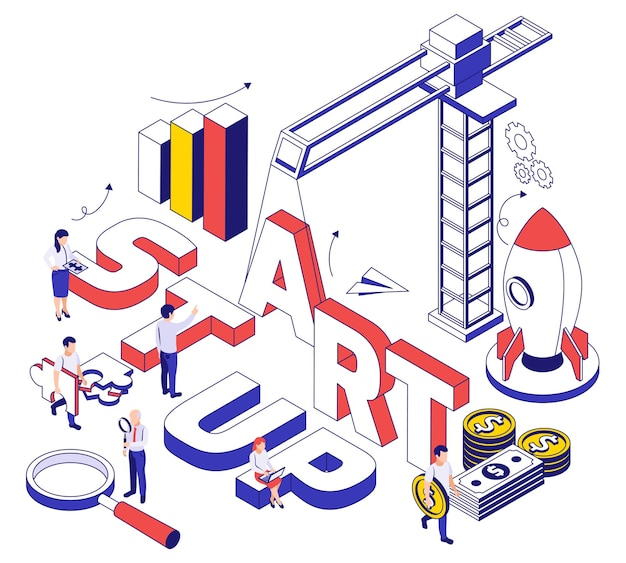 Startup construction and development 3d thin line art style design concept isometric illustration