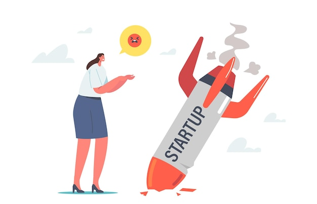 Startup crash, business failure concept. businesswoman stand at fallen rocket trying to realize mistake in business strategy, management failed to achieve profit. cartoon people vector illustration