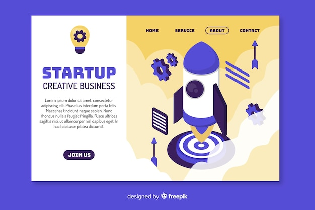 Startup creative business landing page