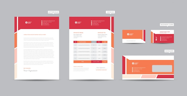 Корпоративный бизнес брендинг идентичность | стационарный дизайн | фирменный бланк | визитная карточка | счет-фактура | конверт | startup design
