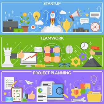 Набор баннеров startup development concept