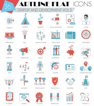 Startup and development flat line icons
