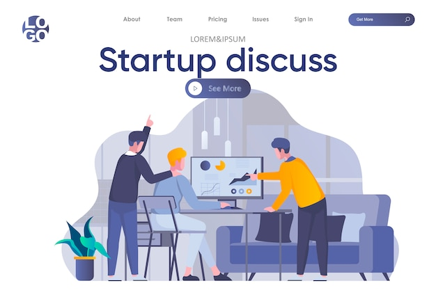 Startup discuss landing page with header. partners discussing project, startup team collaboration and work with analytics in office scene. coworking and teamwork situation flat illustration