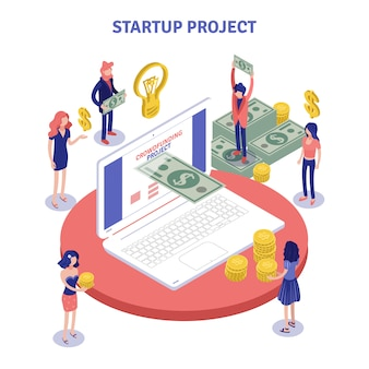 Startup donations isometric composition