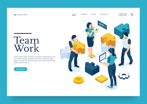 Startup employees goal thinking infographic of puzzle cooperation construction by agency group t
