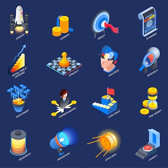 Startup entrepreneurship isometric elements set