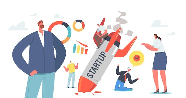Startup fail, business failure, crash. businesspeople stand at burning crashed start up rocket. spaceship fall down. unhappy people sad about launching not working project. cartoon vector illustration