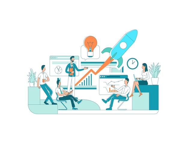 Иллюстрация плоской концепции запуска. запуск бизнеса