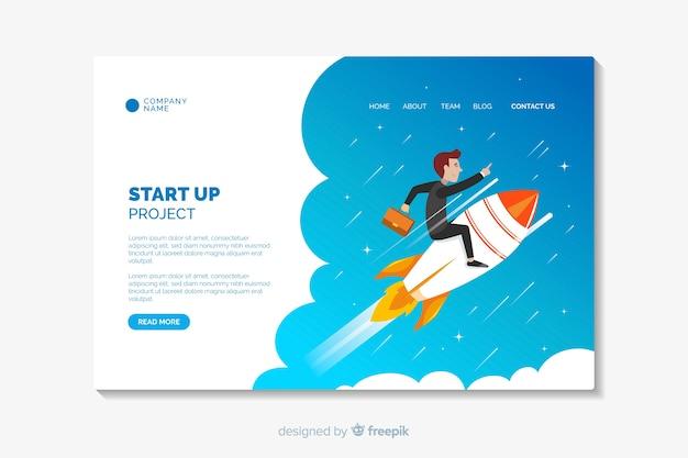 Startup flat design landing page template