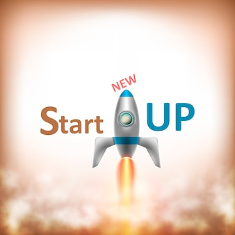 Новый текст startup с flying rocket
