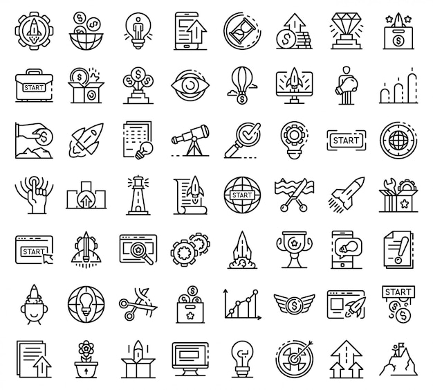 Startup icons set, outline style