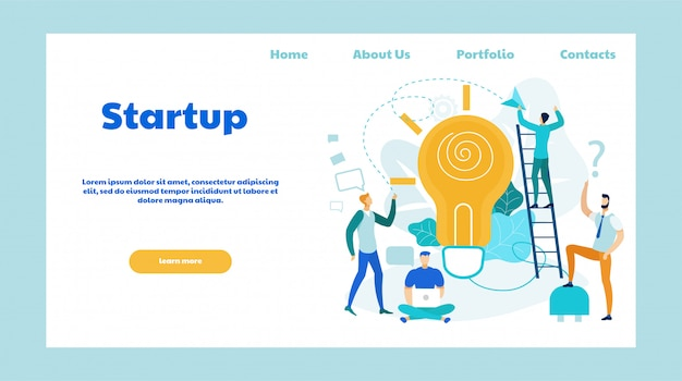 Startup ideas flat vector landing page template