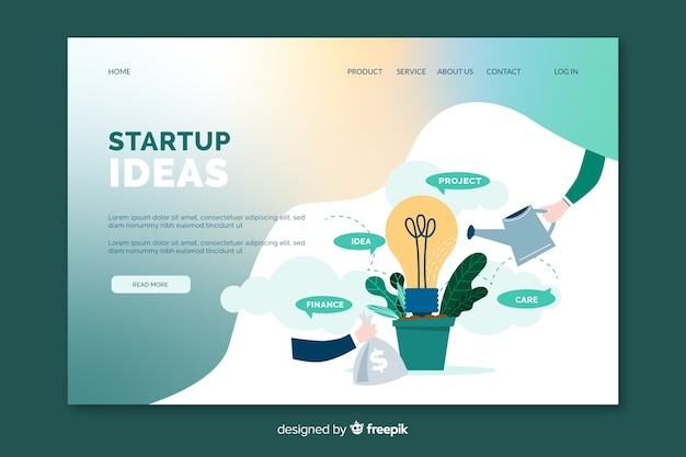Startup ideas landing page
