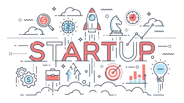 Startup, ideas and new business, development, project launch thi