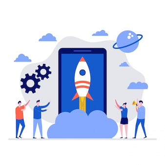 Startup  illustration concept with characters and rocket launch.