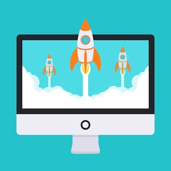 Startup illustration. rockets takes off from the monitor in clouds of white smoke