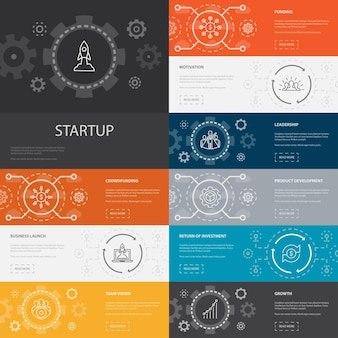 Startup infographic 10 line icons banners.crowdfunding, business launch, motivation, product development simple icons