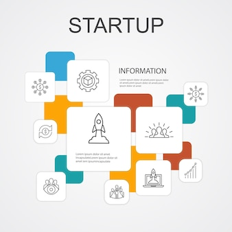 Startup infographic 10 line icons template.crowdfunding, business launch, motivation, product development simple icons