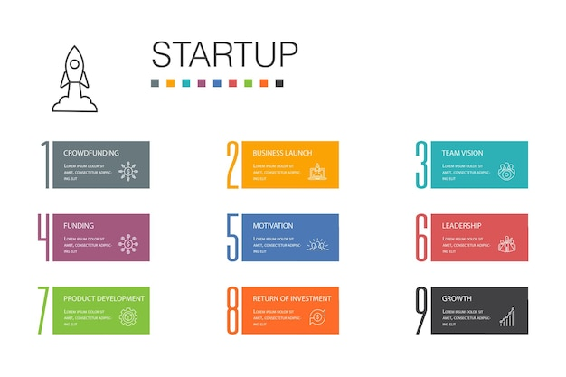 Startup infographic 10 option line concept.crowdfunding, business launch, motivation, product development simple icons