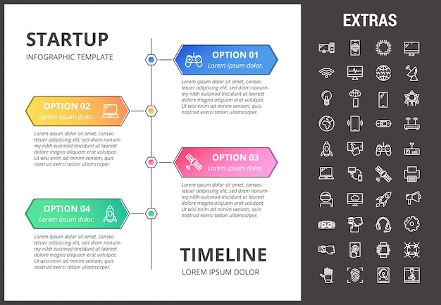 Startup infographic template, elements and icons.