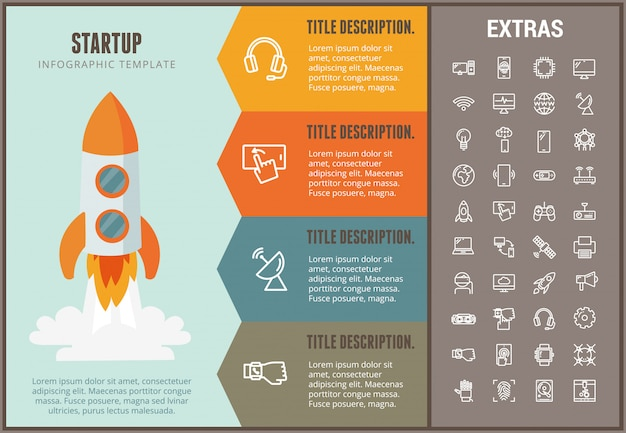 Startup infographic template, elements and icons