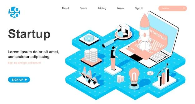 ランディングページの3dデザインのスタートアップアイソメトリックコンセプト
