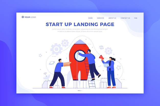 Startup landing page concept for template