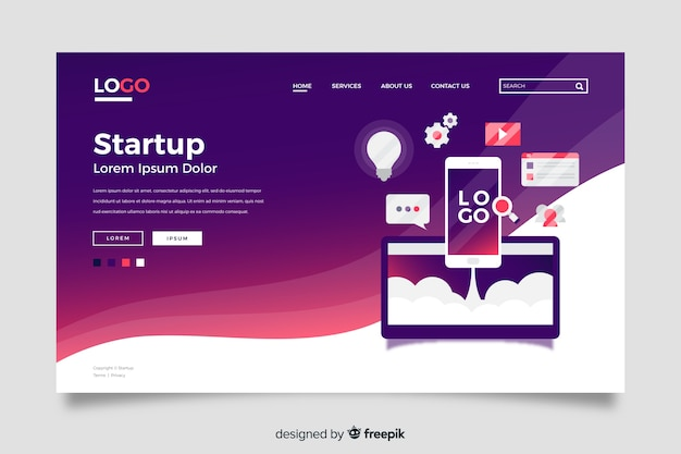 Startup landing page concept