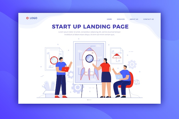 Startup landing page design for template