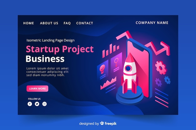 Startup landing page in isometric design