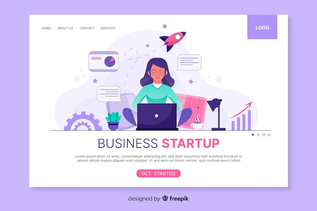 Startup landing page web template