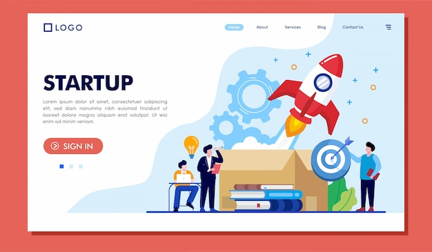Startup landing page website illustrator