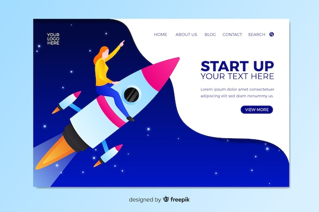 Startup landing page with character on rocket