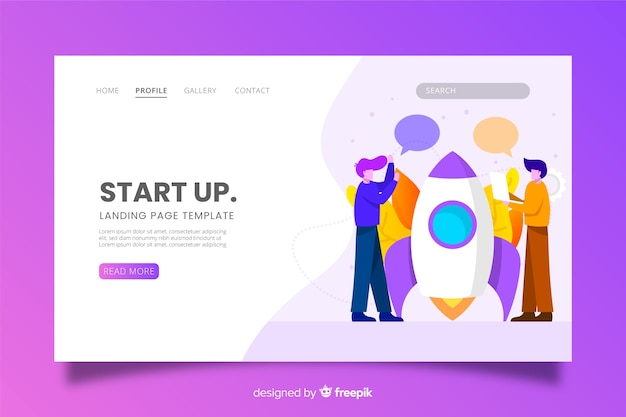 Startup landing page with characters