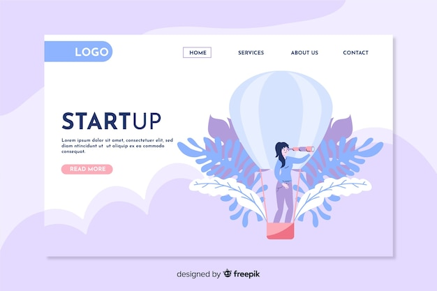 Startup landing page with hot air balloon