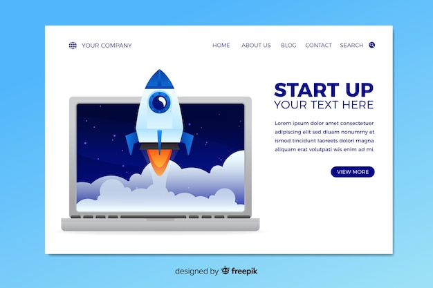 Startup landing page with launched rocket
