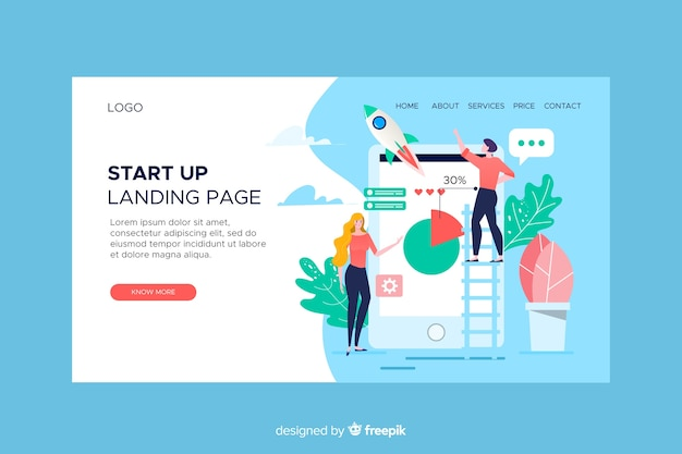 Startup landing page with mobile phone