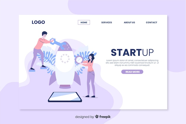 Startup landing page with rocket