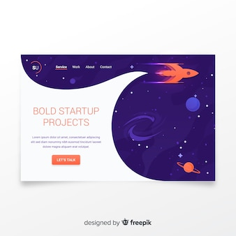 Startup landing page with a rocket