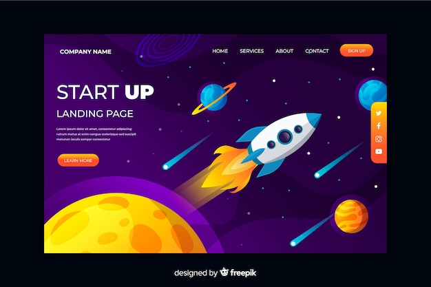 Startup landing page with space elements