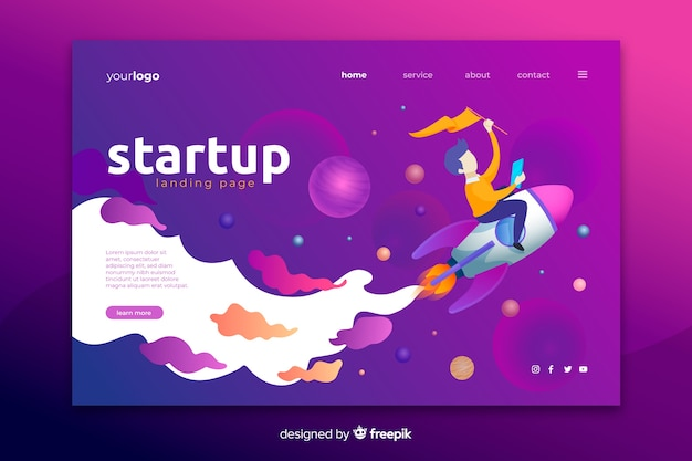 Startup landing page with space