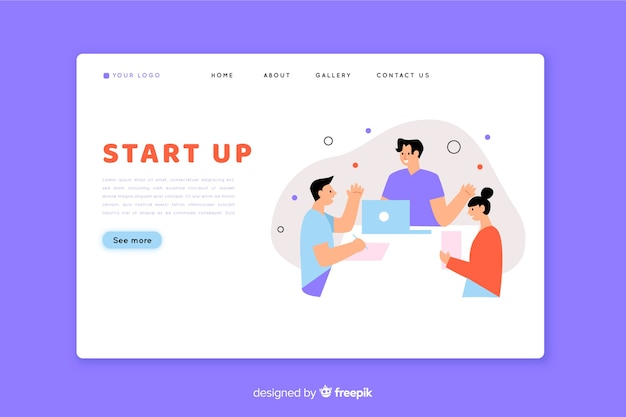 Startup landing page with teamwork