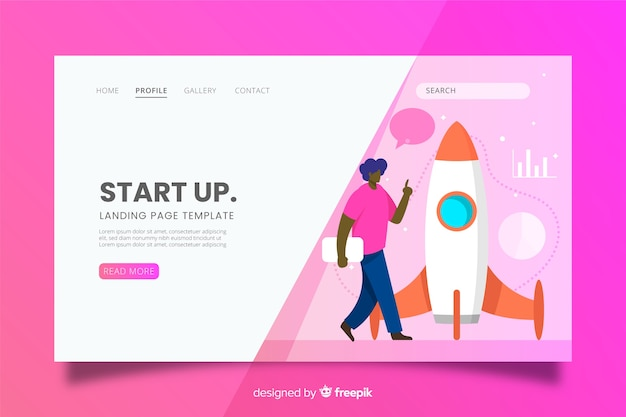 Startup landing page with walking character