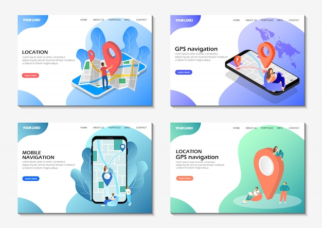Startup landing pages. mobile navigation, gps navigation, location. set of web pages.
