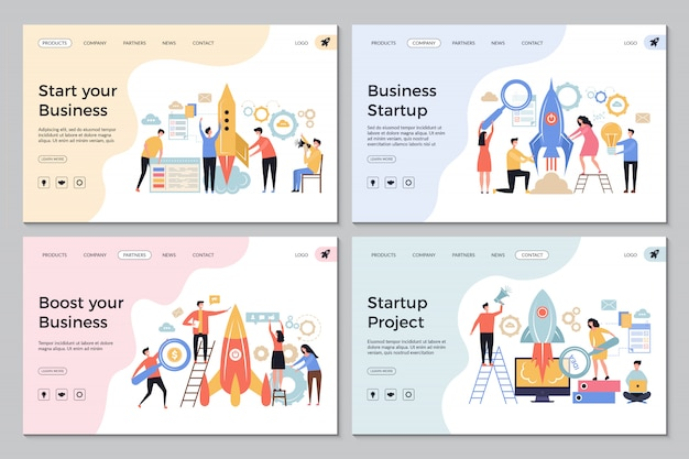 Startup landing pages. web business sites design templates office managers director successful people launch startup symbols