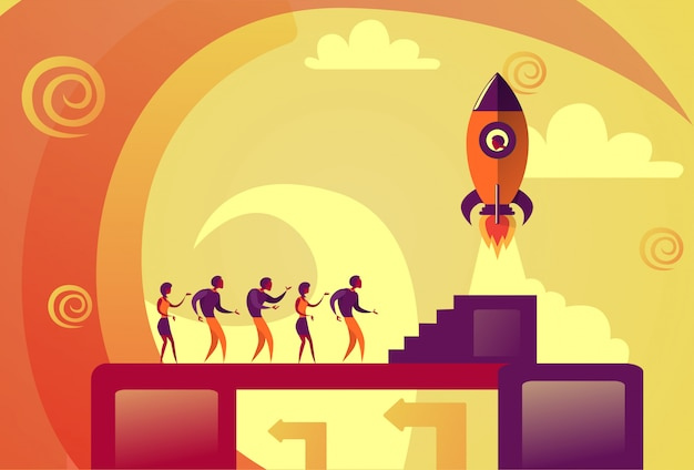 Startup launch business people space rocket flying new idea development concept