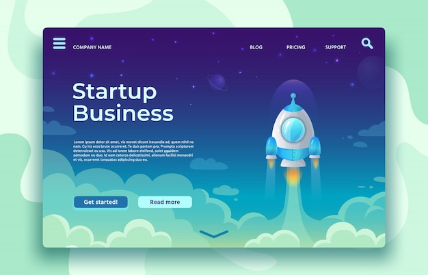 Startup launch landing page. rocket launch, easy business start and futuristic space travel   illustration