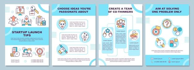 スタートアップローンチのヒントパンフレットテンプレート。チームを作成します。アイデアを選択してください。チラシ、小冊子、リーフレットプリント、線形アイコンのカバーデザイン。プレゼンテーション、年次報告書、広告ページのベクターレイアウト