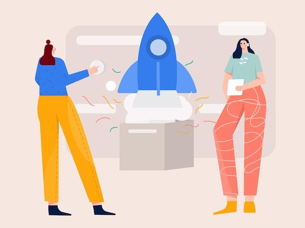Startup launching new product illustration