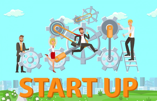 Startup launching procedure vector illustration